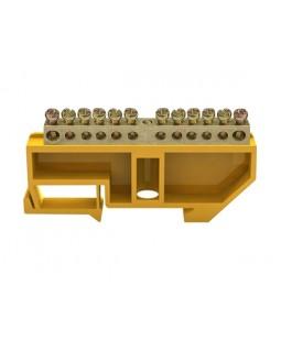 """Шина """"N"""" нулевая в изоляторе на DIN-рейке 6x9мм 12 групп ШНИ-6х9-12-Д-Ж"""
