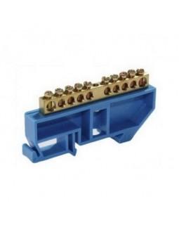 """Шина """"N"""" нулевая в изоляторе на DIN-рейке 8x12мм 6 групп ШНИ-8х12-6-Д-С"""