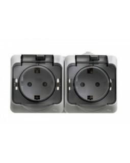 Блок 2 розетки 2х2P+E со шторками серый IP44 Этюд