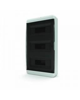 Бокс настенного монтажа 36мод. белый с прозрачной черной дверью и шинами IP40 (Россия)