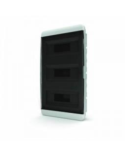 Бокс встраиваемый 36мод. белый с прозрачной черной дверью и шинами IP40 (Россия)