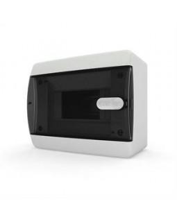 Бокс настенного монтажа 6мод. белый с прозрачной черной дверью и шинами IP40 (Россия)