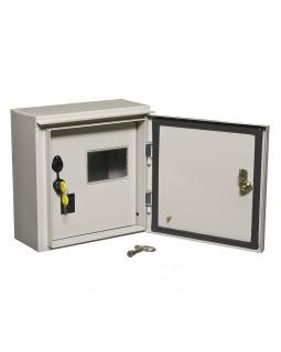 Щит вводно-учетный навесной под 1-ф.сч-к+6мод. двухдвер.с замком и окном ЩУ-1/1-1 IP54 (310*300*150)