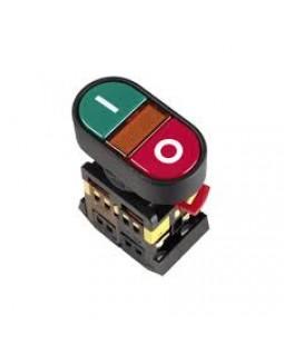 """Кнопка управления """"I-0"""" красная-зеленая неон/230В d22мм 1з+1р IP40 тип APBB-22N"""