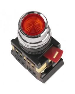 Кнопка управления красная неон/230В d22мм 1з+1р IP40 тип ABLFS-22