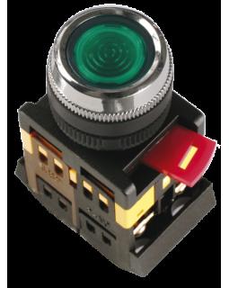 Кнопка управления зеленая неон/230В d22мм 1з+1р IP40 тип ABLFS-22