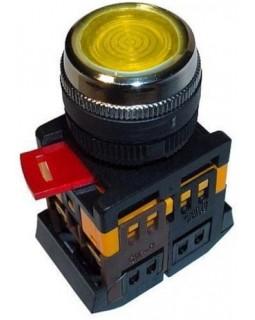 Кнопка управления желтая неон/230В d22мм 1з+1р IP40 тип ABLFS-22