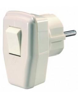 Вилка с выключателем с заземлением белая 16А 250В