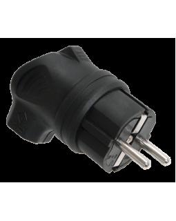 Вилка  с боковым вводом черная каучук IP44 Омега ВБу3-1-0м