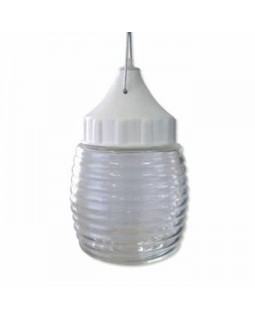 Светильник подвесной для ЛН 60Вт Е27 IP53 стекло корпус пластик белый