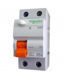 Выкл. дифф. тока 2-пол. 25А 30 мA тип AC серия Домовой ВД63