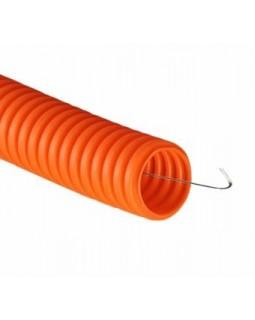 Труба ПНД гибкая легкая с протяжкой ф16 оранжевая