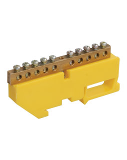 """Шина """"N"""" нулевая в изоляторе на DIN-рейке 8x12мм 12 групп ШНИ-8х12-12-Д-Ж"""