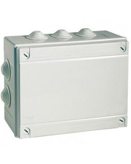 Коробка монтажная распред.300х220х120 мм с крышкой для откр.монтажа,10 вводов,IP 55