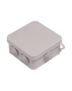 Коробка монтажная распределительная 85x85x42мм с крышкой для открытого монтажа, 6 вводов, IP 55