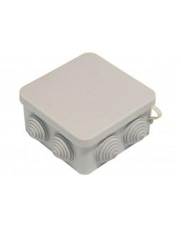 Коробка монтажная распределительная 100х100х50 мм с крышкой для открытого монтажа, 7 вводов, IP55