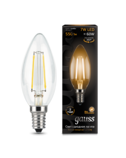 Лампа светодиодная 7 Вт 230В Е14 Filament свеча, тёплый 2700К