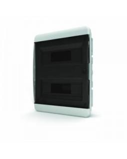 Бокс встраиваемый 24мод. белый с прозрачной черной дверью и шинами IP40 (Россия)