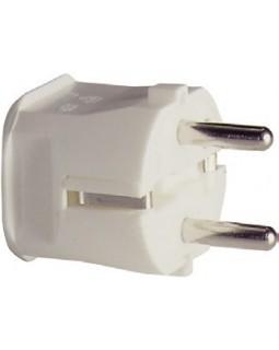 Вилка с заземлением белая термопласт 16А 250В