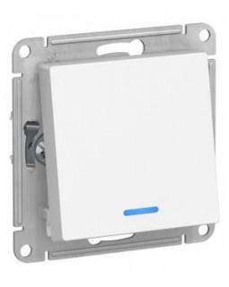 Выключатель 1 клавишный с подсветкой белый AtlasDesign