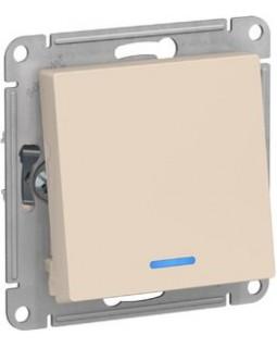Выключатель 1 клавишный с подсветкой бежевый AtlasDesign
