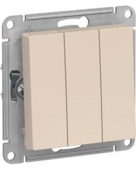 Выключатель 3 клавишный бежевый AtlasDesign